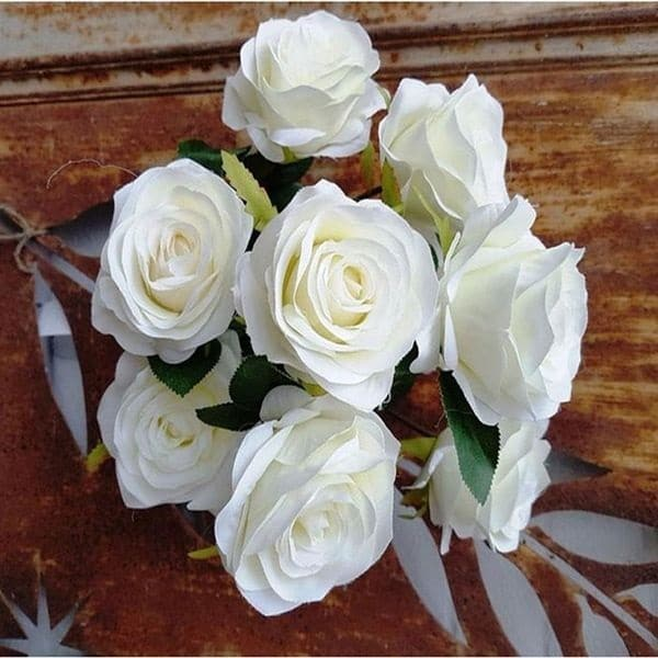 Bouquet-Rose-Artificielle-Blanche