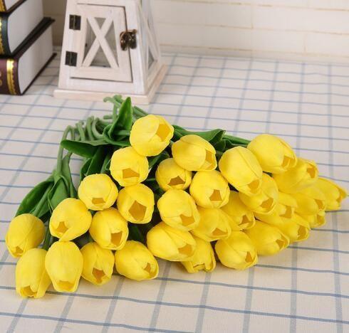 bouquet-tulipes-artificielles-jaune