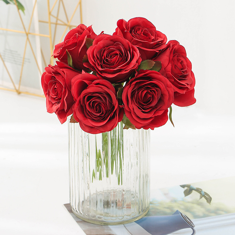bouquet-roses-artificielles-rouge