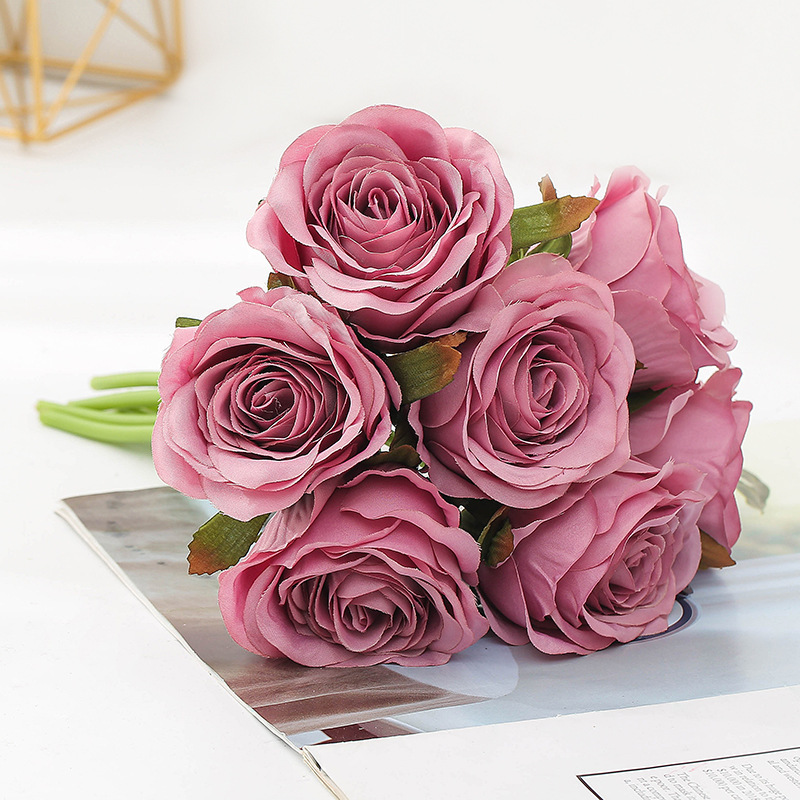bouquet-roses-artificielles-fushia