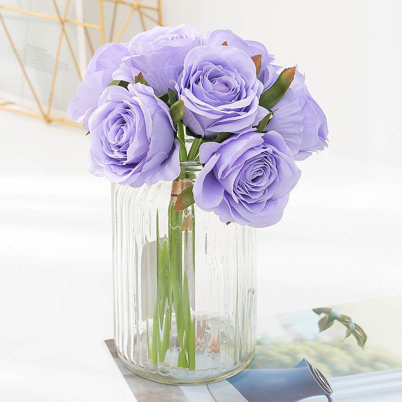 bouquet-roses-artificielles-bleus